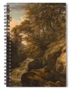 A Wooded Landscape With A Waterfall And A Fisherman Walking Along A Path Spiral Notebook