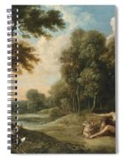 A Wooded Landscape With Venus Adonis And Cupid Spiral Notebook