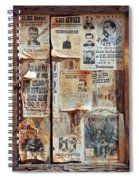 A Wooden Frame Full Of Wanted Posters Spiral Notebook
