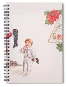 A Xmas Greetings With Santa And Child Vintage Card Spiral Notebook