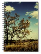 A Yellow Tree In A Middle Of A Dry Field - Wide Angle Spiral Notebook