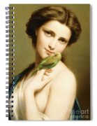 A Young Beauty With A Parakeet Spiral Notebook