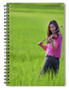 A Young Girl In A Folk Costume Plays A Vivaro In A Green Rice Fi Spiral Notebook