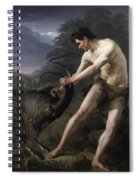 A Young Man Fighting A Goat Spiral Notebook