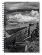 Abandoned Broken Down Frontier Wagon In Black And White Spiral Notebook