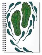 Aboriginal Footprints Green Transparent Background Spiral Notebook