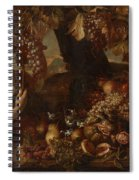 Abraham Brueghel After, Girl With Grapes And Still Life With Fruit. Spiral Notebook
