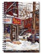 Rue De Pointe St Charles En Hiver Scenes De Rue De Montreal Peinture Originale A Vendre Paul Patates Spiral Notebook