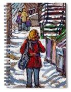 En Route Vers L'ecole Escaliers De Montreal Scenes De Ville Peintures A Vendre Spiral Notebook