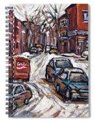 Ville Emard En Peinture Scenes De Ville De Montreal En Hiver Petit Format A Vendre Spiral Notebook