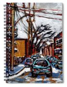Plateau Mont Royal Scenes De Rue De Montreal En Hiver Rue Napoleon Petit Format A Vendre Spiral Notebook