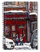 Dunn's Famous Deli Downtown Montreal Scenes De Rue Montreal Centre Ville En Hiver Joueur De Hockey Spiral Notebook