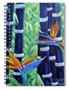 Abstract Bamboo And Birds Of Paradise 04 Spiral Notebook