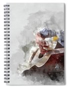 Abstract Beautiful Playing Guitar In The Foreground On Watercolor Painting Background. Spiral Notebook