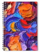 Abstract Colorful Flowers Impasto Palette Knife Modern Impressionist Oil Painting Ana Maria Edulescu Spiral Notebook