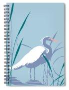 abstract Egret graphic pop art nouveau 1980s stylized retro tropical florida bird print blue gray  Spiral Notebook