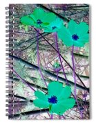Abstract Flowrs In Green And Blue Spiral Notebook