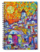Abstract Santorini Oia Sunset Floral Sky Impressionist Palette Knife Painting  Ana Maria Edulescu Spiral Notebook