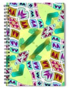 Abstract Seamless Pattern  - Yellow Green Purple Blue Gray White Spiral Notebook