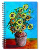 Abstract Sunflowers W/vase Spiral Notebook