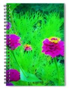 Abstract Zinnias In Green And Pink Spiral Notebook