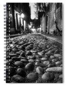 Acorn Street Cobblestone Detail Boston Ma Black And White Spiral Notebook