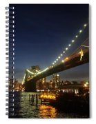 Across The Brooklyn Bridge To Manhattan At Night Spiral Notebook