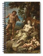 Adam And Eve With The Infants Cain And Abel Spiral Notebook