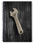 Adjustable Wrench Over Black And White Wood 72 Spiral Notebook