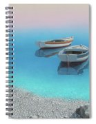 Coastal Wall Art, Adriatic Paradise, Fishing Boat Paintings Spiral Notebook