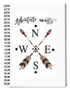 Adventure Waits Typography Arrows Compass Cardinal Directions Spiral Notebook