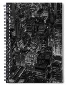 Aerial New York City Skyscrapers Bw Spiral Notebook