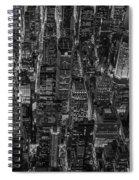 Aerial View Midtown Manhattan Nyc Bw Spiral Notebook