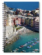 Aerial View Of Vernazza, Cinque Terre, Liguria, Italy Spiral Notebook