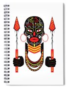 African Motive Background With Ornament Details And Spears  Spiral Notebook