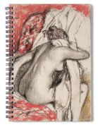 After The Bath Seated Woman Drying Herself Spiral Notebook