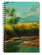 Afternoon By The River With Peaceful Landscape L B Spiral Notebook