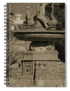 Aged And Worn Swan Statues On Rustic Cast Fountain Spiral Notebook