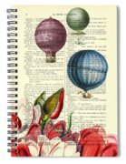 Hot Air Balloons Above Flower Field Spiral Notebook