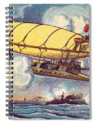 Air Battle, 1900s French Postcard Spiral Notebook