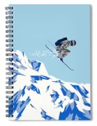 Airborn Skier Flying Down The Ski Slopes Spiral Notebook