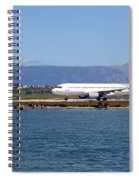airplane on airport Corfu island Greece Spiral Notebook