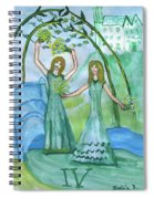 Airy Four Of Wands Illustrated Spiral Notebook
