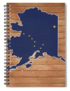 Alaska Map And Flag On Wood Spiral Notebook