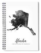 Alaska State Map Art - Grunge Silhouette Spiral Notebook