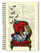 Alice In Wonderland Playing With Cute Cat And Butterflies Spiral Notebook