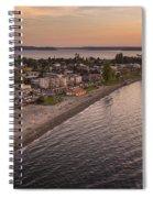 Alki Point Aerial Sunset Spiral Notebook