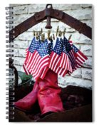 All American Flag And Red Boots - Painterly Spiral Notebook