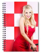 Alluring Long Haired Blonde Beauty In Retro Cafe Spiral Notebook
