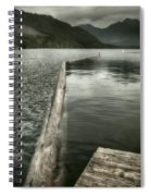 Along The Washington Coast - Dock, Breakwater, And Mountains Spiral Notebook
